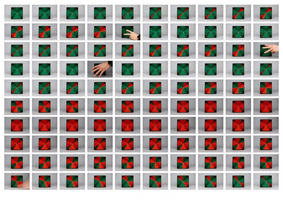 5B- (varie sequenze dell'opera in movimento) BRUNO MUNARI, Tetracono, 1965, alluminio e ferro, elettromotore, 26,5x20x21,3 cm (crediti fotografici David Reinfurt)