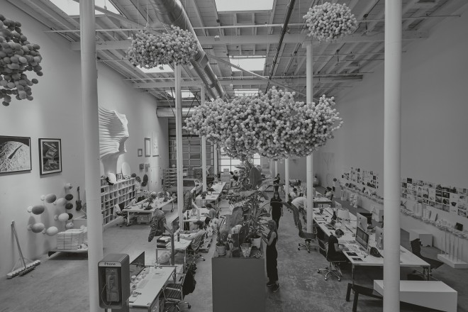 snarkitecture-View-of-the-studio-with-Daniel-Arsham-sculptures-hanging-from-the-ceiling,-2017
