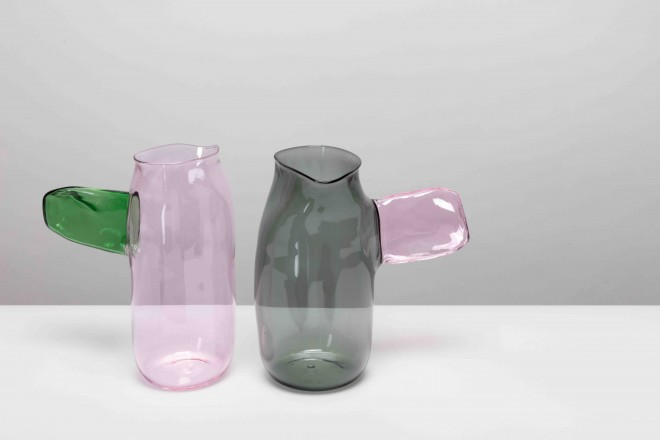 A plus A Gallery, Jochen Holz - Coloured - Side handle colour jugs - photographs by Angus Mill