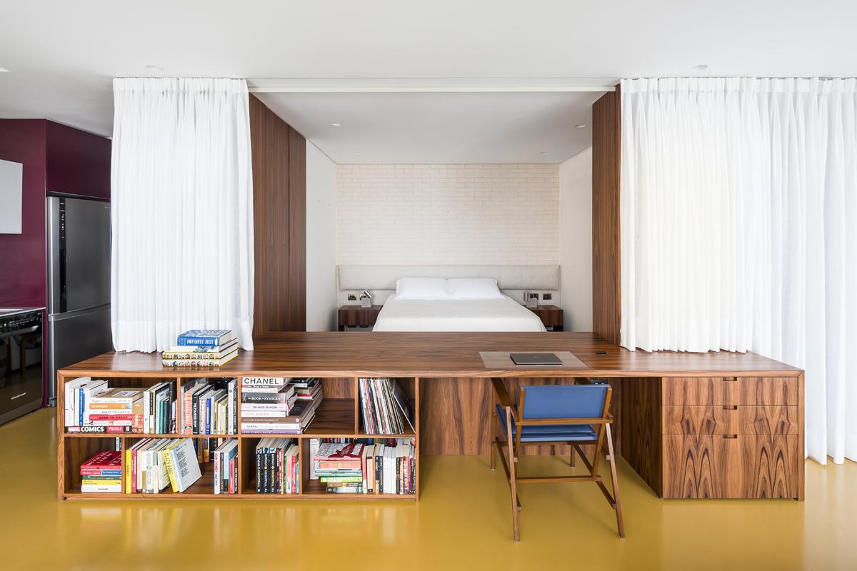 Camera da letto con sipario