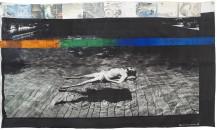 Senza titolo, 1988. Acrilico e trasferimento con solvente su ingrandimento fotografico di Gianfranco Gorgoni (1941), stampa su tela, cm 185 x 322. Collezione privata © Robert Rauschenberg by SIAE 2018.