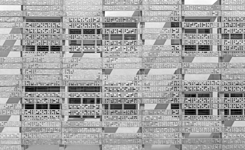 Project: The perforated concrete skin of Vm Estancia in Chennai,Tamil Nadu, India by KSM ArchitecturePhotographer: B.R.S.Sreenag