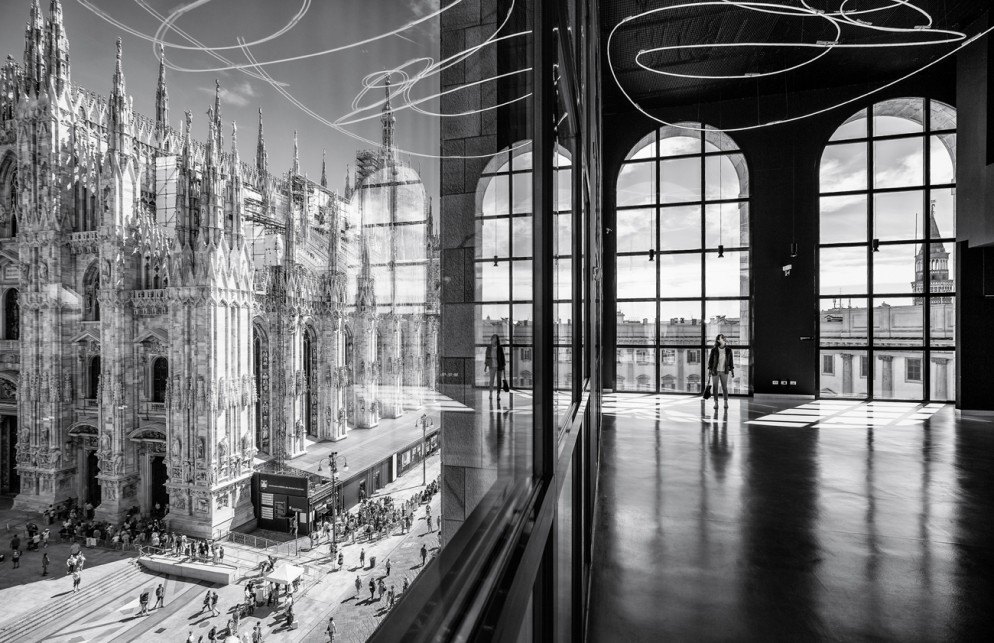 Project: The Piazza Duomo from the Arengario Balconi of the Palazzo dell'Arengario, Museo del 900 in Milan, Italy by Italo Rota and Fabio Fornasari