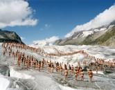 Spencer Tunick, Aletsch Glacier, Switzerland (2007) Fujicolor crystal archive print, 120 x 150 cm Courtesy Collezione Martine e Pierino Ghisla-Jacquemin