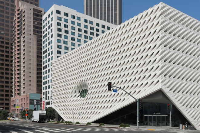 Los Angeles, California, USA - July 31, 2017: The Broad museum at an intersection in downtown Los Angeles