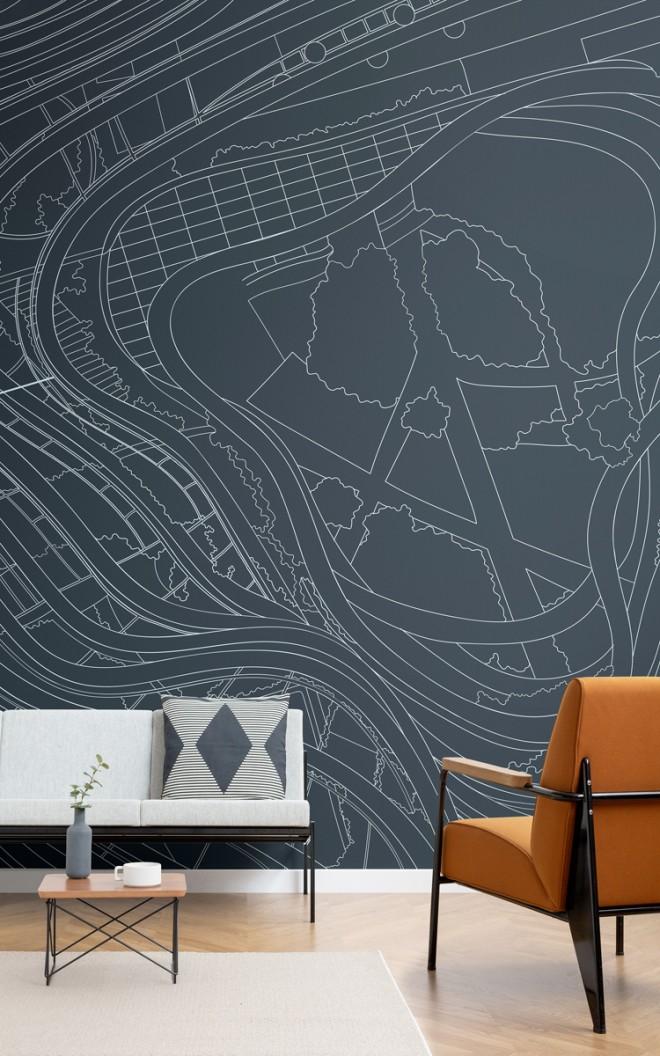 Carta da parati Grattacielo Marina One, Linee Architettoniche in Blu Scuro-Lifestylre-Hi-Res