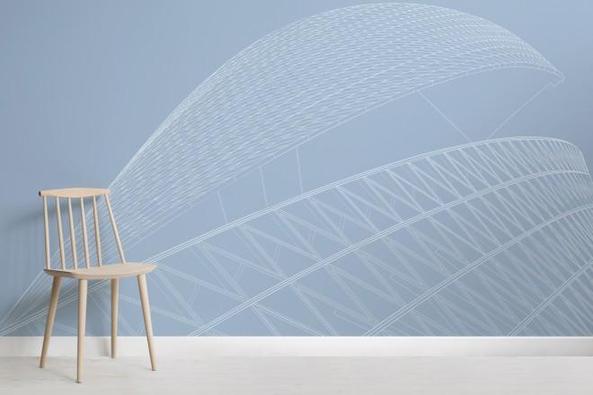 Carta da parati Grattacielo Spiral Towers, Linee Architettoniche in Azzurro-Chair-Hi-Res