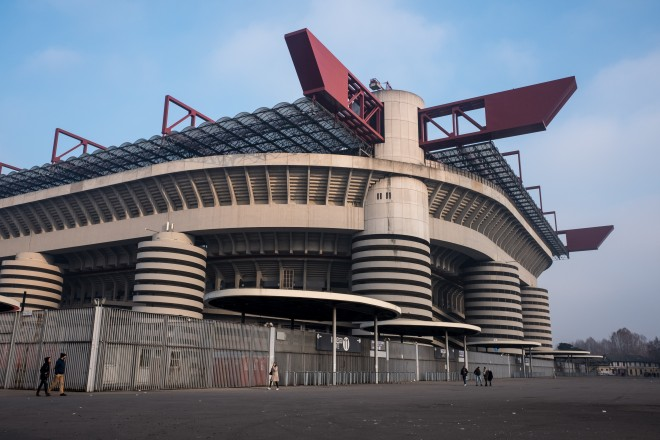 Spectators in the Italian stadiums are on the rise.  San Siro is the setting of records with 62,281 paying players during the matches of the Internazionale Milan and 52,977 paying players during the matches of A.C. Milan.  (Photo by Mairo Cinquetti/NurPhoto via Getty Images)