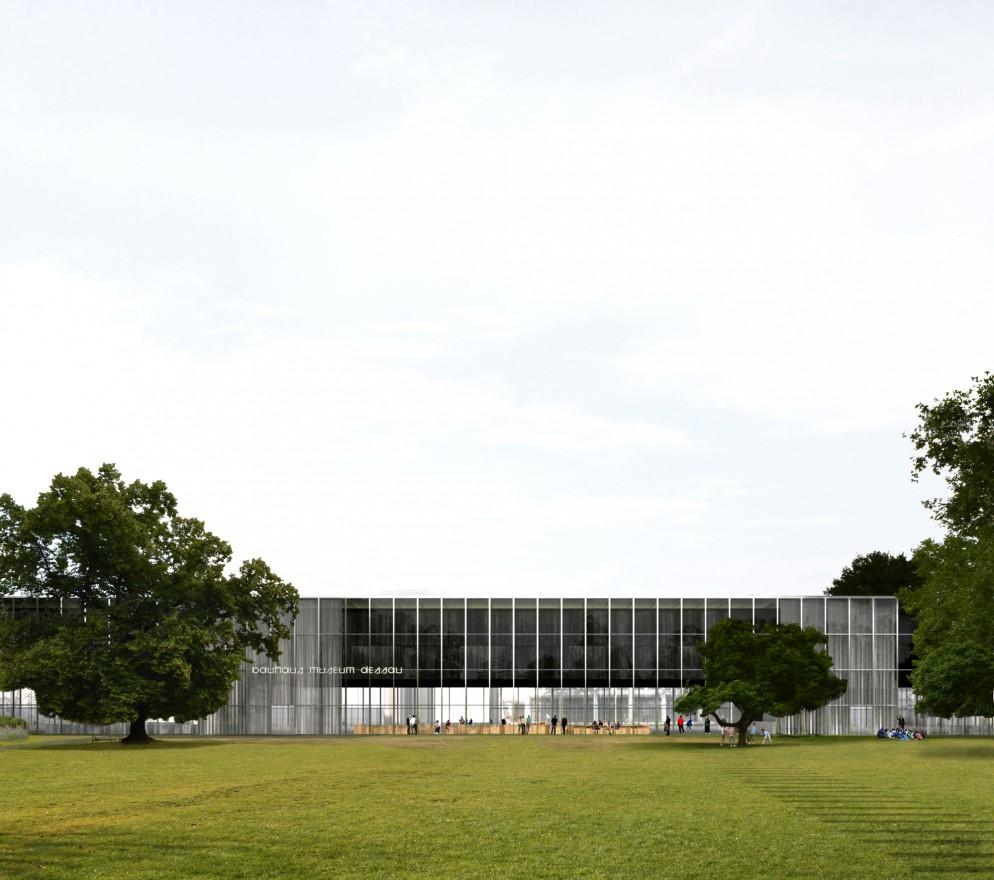 Entwurf Bauhaus Museum Dessau, Ansicht Stadtpark