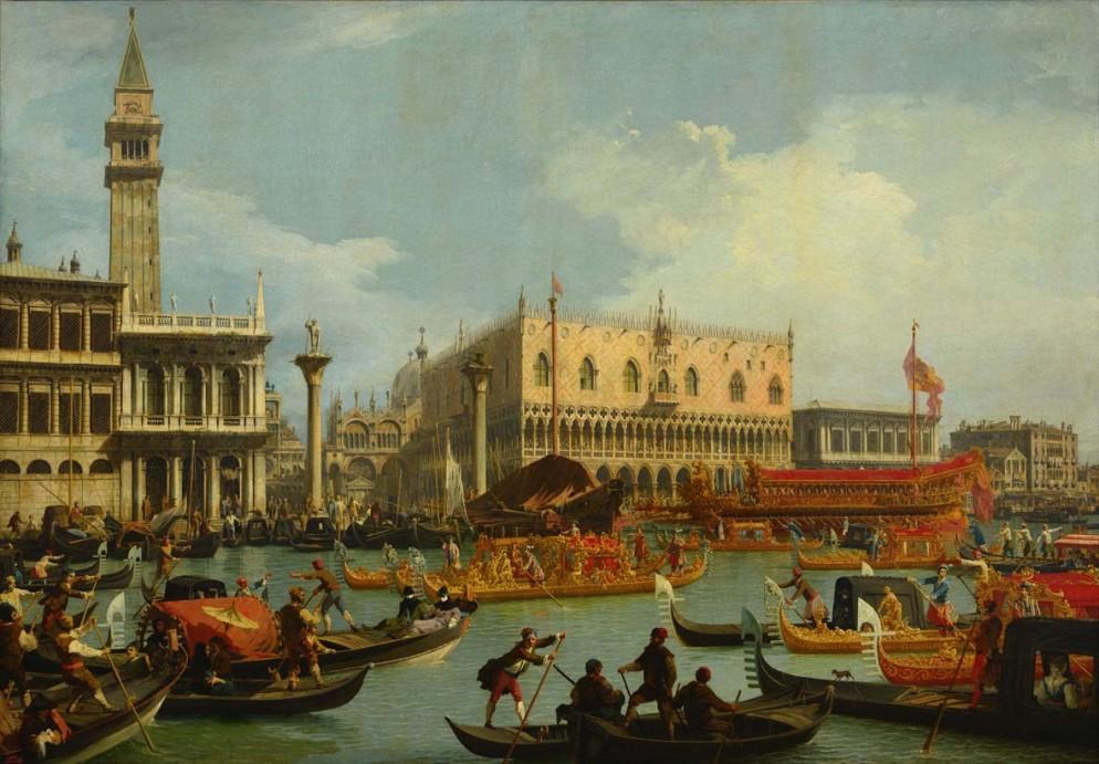 Canaletto: Il ritorno del Bucintoro al molo davanti al Palazzo Ducale, 1727-1729, Olio su tela, 182 x 259 cm. Mosca, Museo Pushkin