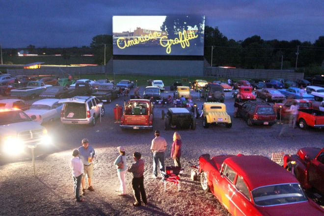 Movie goers pack the Family Drive-In Theatre Saturday, Sept. 24, 2011, in Stephens City, Va. The theatre is celebrating its 55th anniversary. (AP Photo/The Winchester Star,  Jeff Taylor)