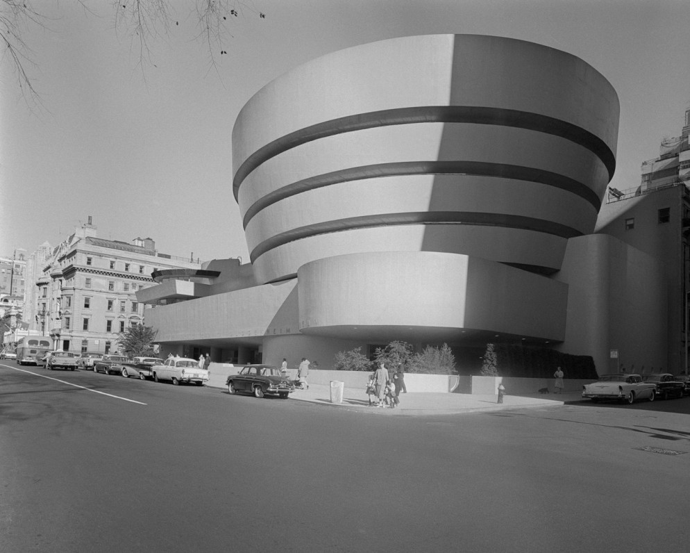This-is-the-Guggenheim-Museum,-at-1071-5th-Avenue,-with-a-general-scene-of-the-building-designed-by-Frank-Lloyd-Wright-for-Solomon-R.-Guggenheim.