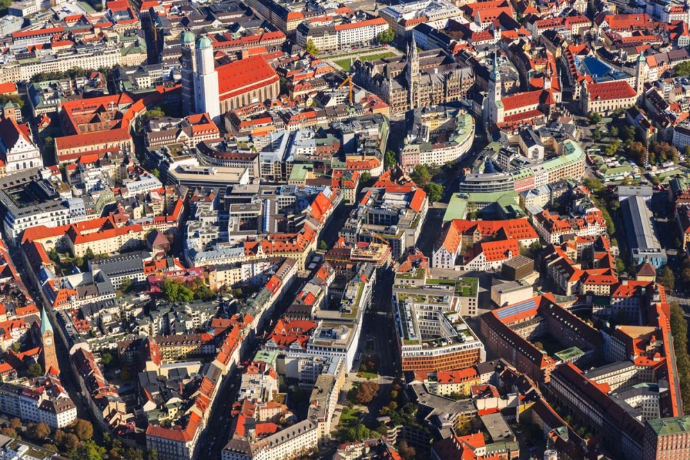 Germany, Bavaria, Munich, Aerial view of old town