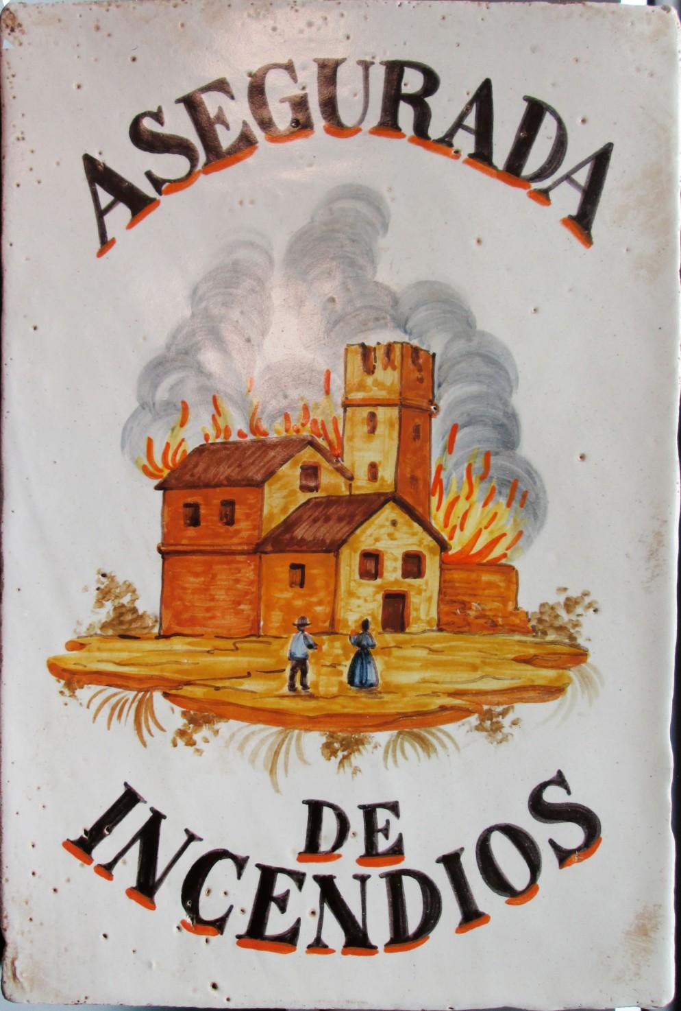Targa-incendio spagnola in ceramica