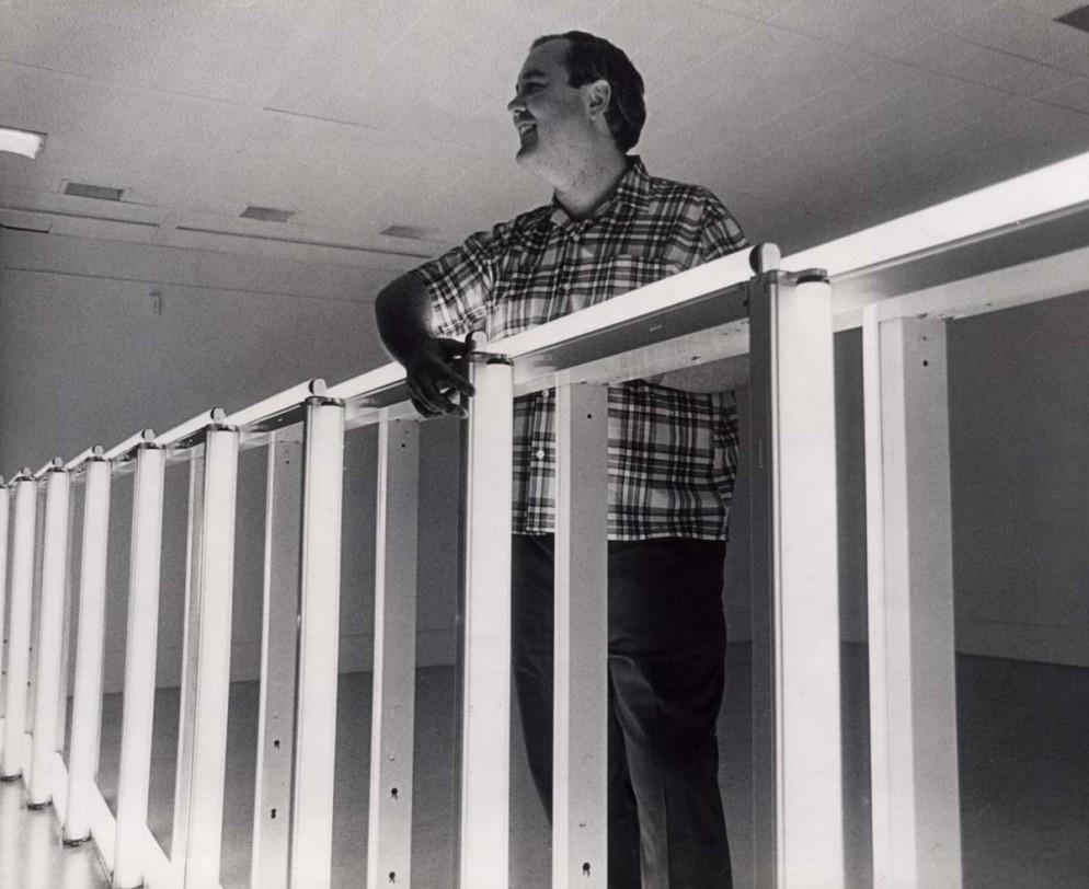 Dan Flavin at the Dwan Gallery, New York, 1968. Courtesy Stephen Flavin.