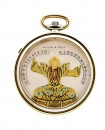Chinese magician pocket watch in yellow gold, osmior, enamels