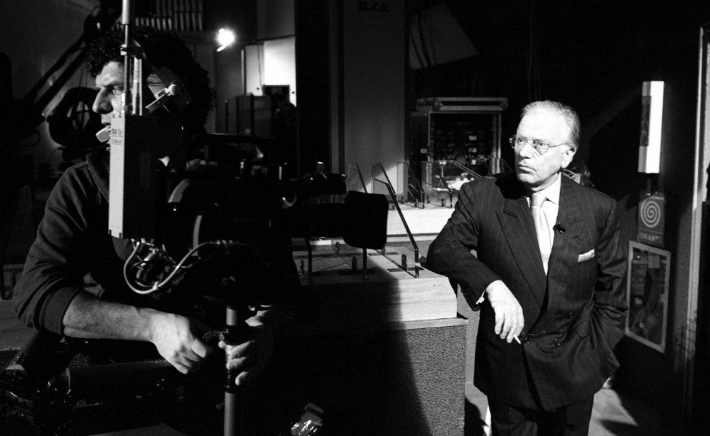 "Stefano De Luigi, Gianfranco Funari durante ""Funari News"", 1994"
