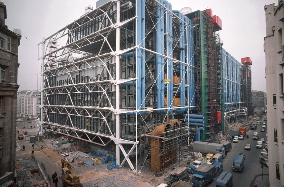 Construction Of Centre Georges Pompidou In Paris, France In 1976 -
