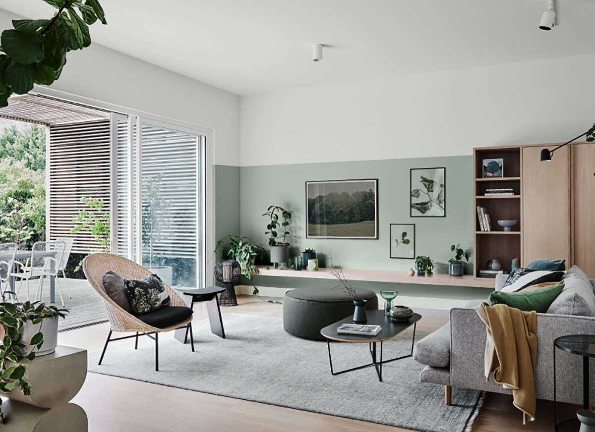 Pareti verdi in soggiorno - Foto