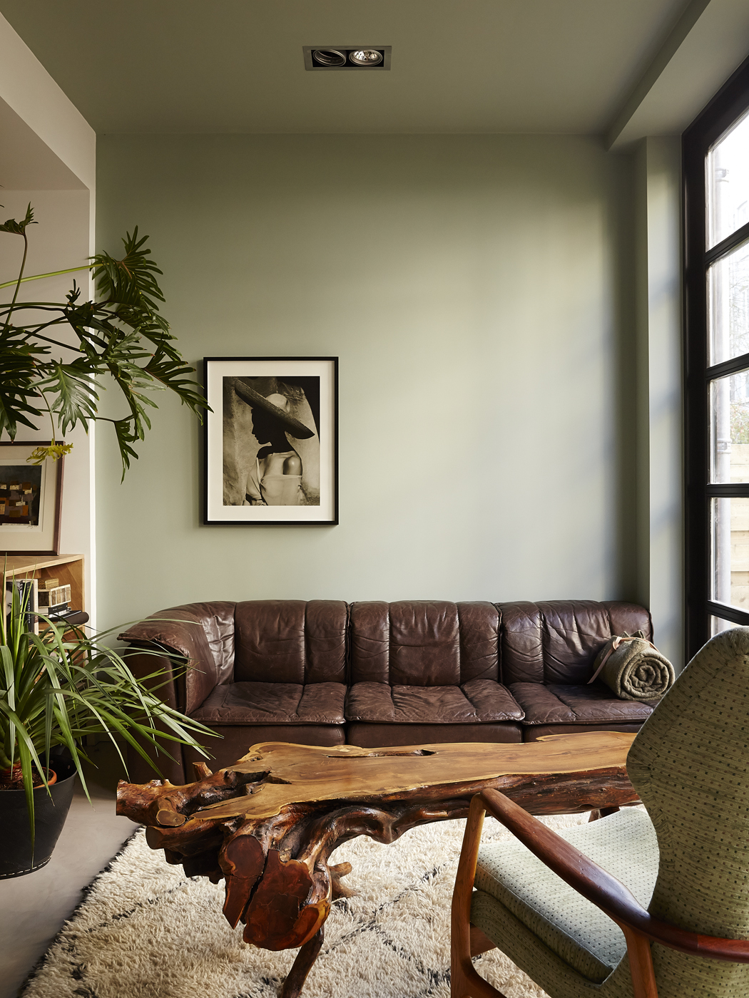 parete-verde-soggiorno-2. Foto Kasia Gatkowska