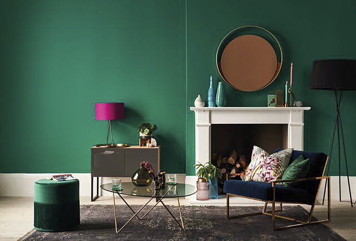 Pareti verdi in soggiorno: le palette da provare ...