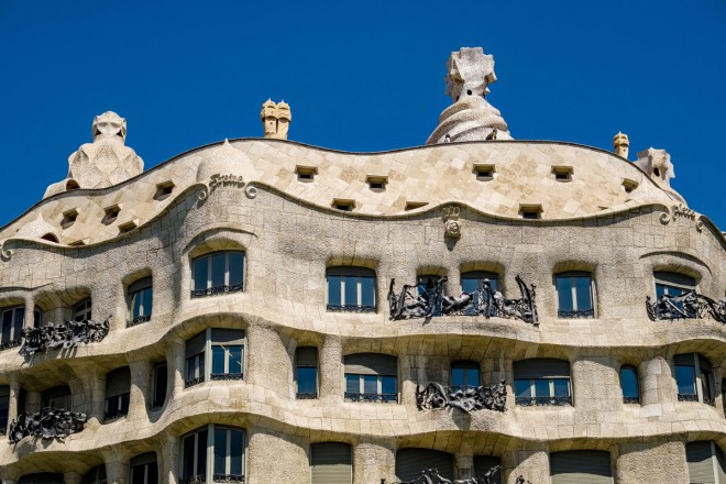 BARCELONA, CATALONIA, SPAIN - 2018/04/17: Detail of the facade of Casa Milà, architectural work of Antoni Gaudí. (Photo by Frank Bienewald/LightRocket via Getty Images)