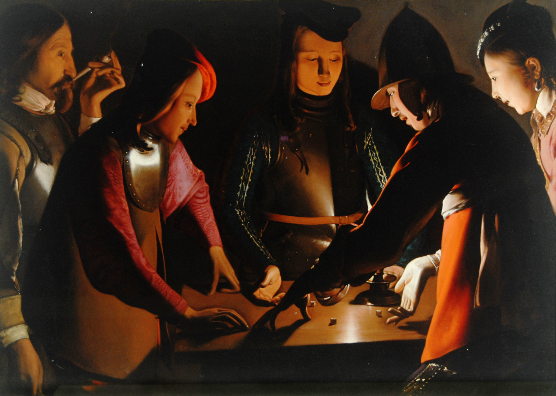 04_Georges de La Tour, I giocatori di dadi (The dice Players), 1651 ca, olio su tela, 95,5x130,5, Preston Park Museum & Grounds, Stockton-On-Tees, Regno Unito