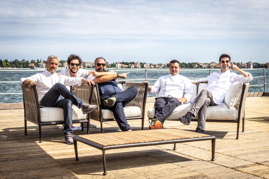 8 Da sinistra (Alberto Sonino, Michele Pozzani, Raffaele Alajmo, Silvio Giavedoni, Massimiliano Alajmo)