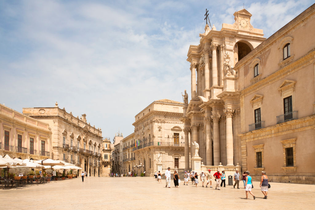 Syracuse Cathedral, Palazzo Beneventano Del Bosco, and Palazzo Del Senato, Piazza Duomo, Ortygia, Syracuse, Sicily, Italy. (Photo by: Mel Longhurst/VW Pics/Universal Images Group via Getty Images)