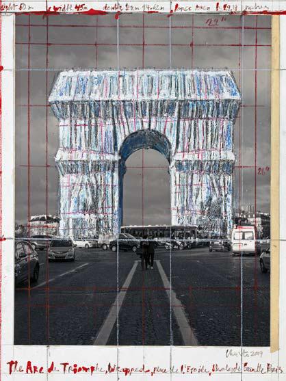 The Arc de Triomphe, Wrapped Project for Paris, Place de l'Étoile – Charles de Gaulle 2018 - 2019 Up: 2019, pencil, wax crayon, enamel paint, photograph by Wolfgang Volz, tape and glue, 28 x 21,5 cm Down: 2018, pencil, charcoal, wax crayon, enamel paint, fabric, twine, photograph by Wolfgang Volz, hand-drawn map. Diptych: 77,5 x 66,7 cm et 77,5 x 30,5 cm © Christo 2018 © Christo 2019 Photos © André Grossmann