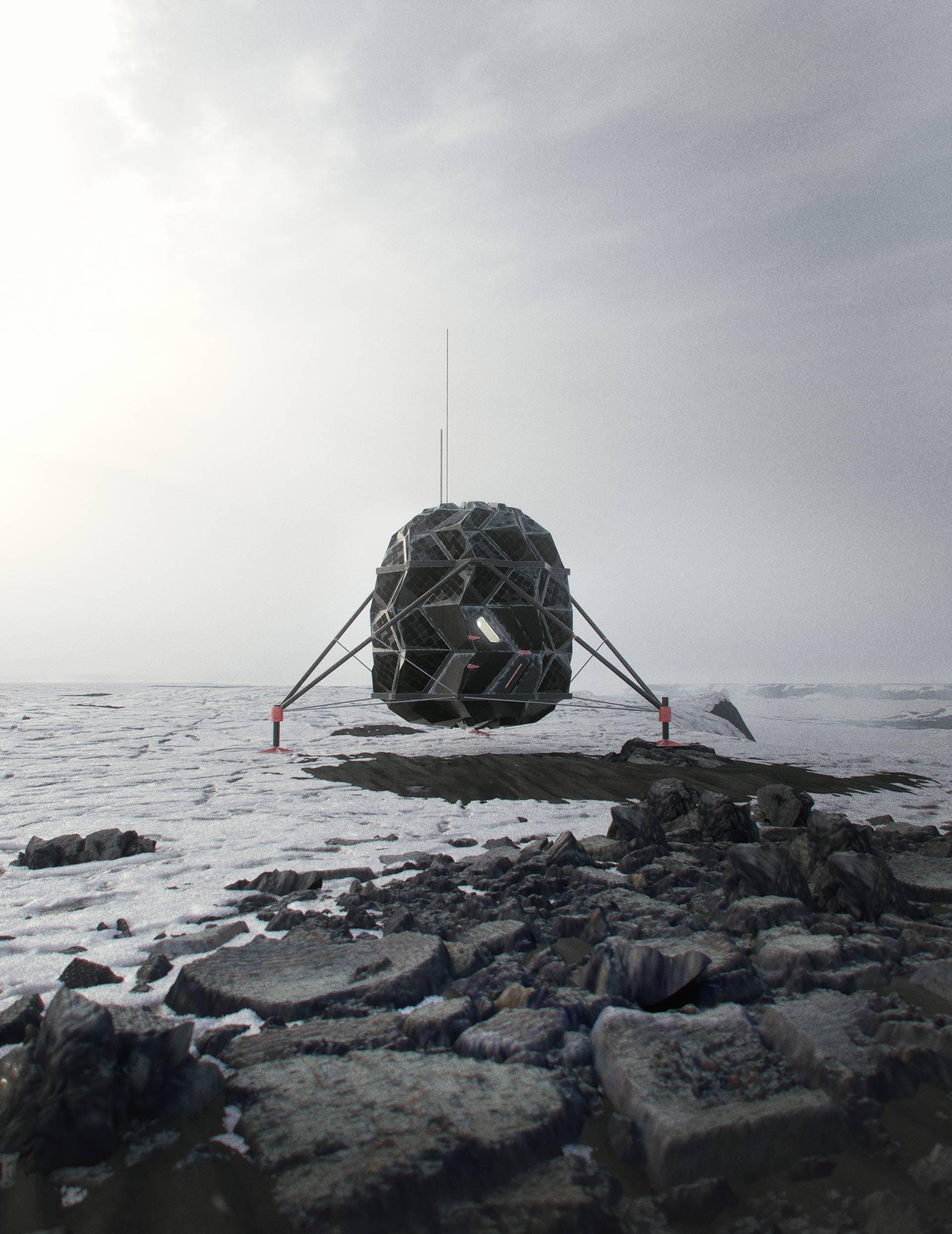 Il pod ermetico creato dalla SAGA Space Architects dove S.Aristotelis e K.J.Sørensen vivranno per 91 giorni