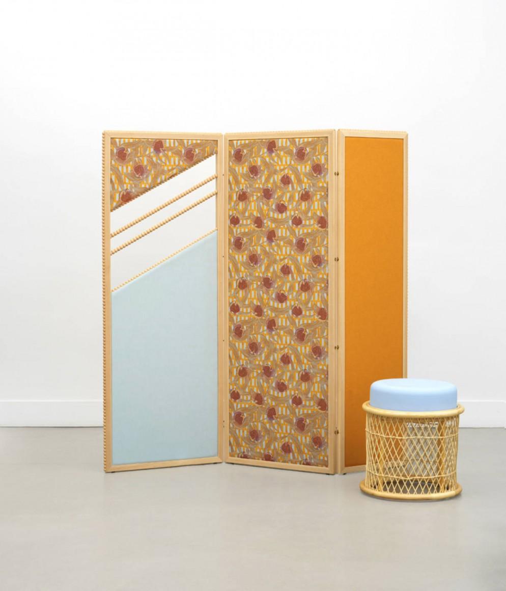 Paravent Ombrage et table ronde Bianca - Collection Intérieur aux Aubergines par Cristina Celestino pour Maison Matisse © Fabrice Gousset