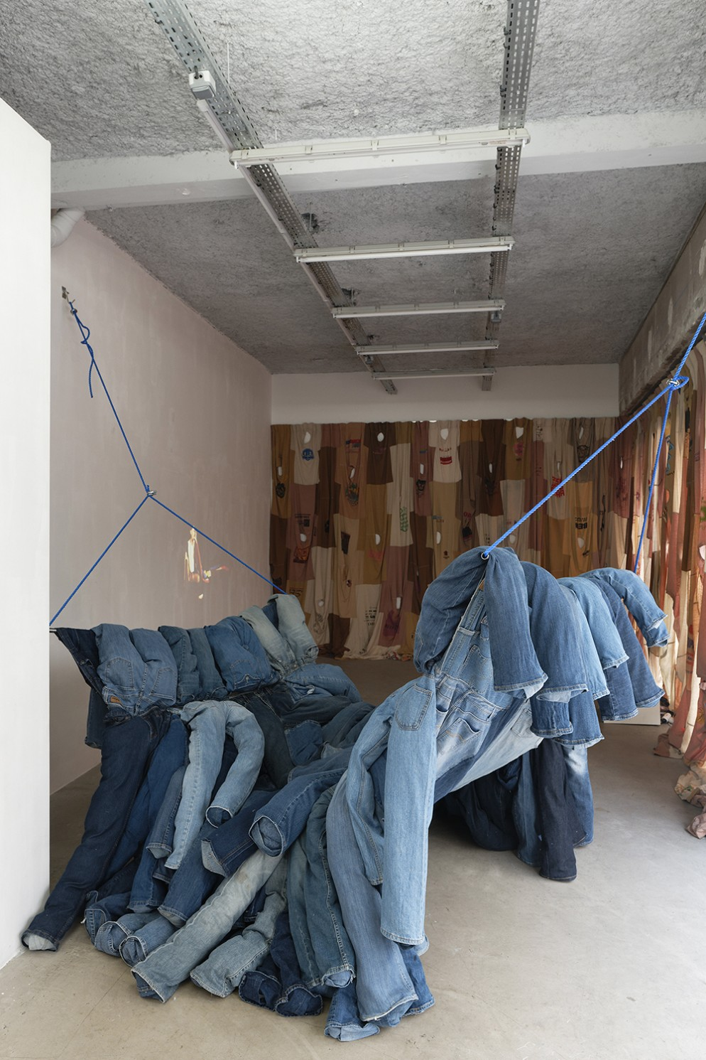 Pia-Camil,-Vicky's-blue-jeans-hammock,-2018.-Exhibition-view-of-the-show-They,-2018,-Galerie-Sultana,-Paris