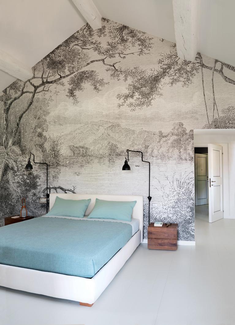 parete dietro letto wallpaper