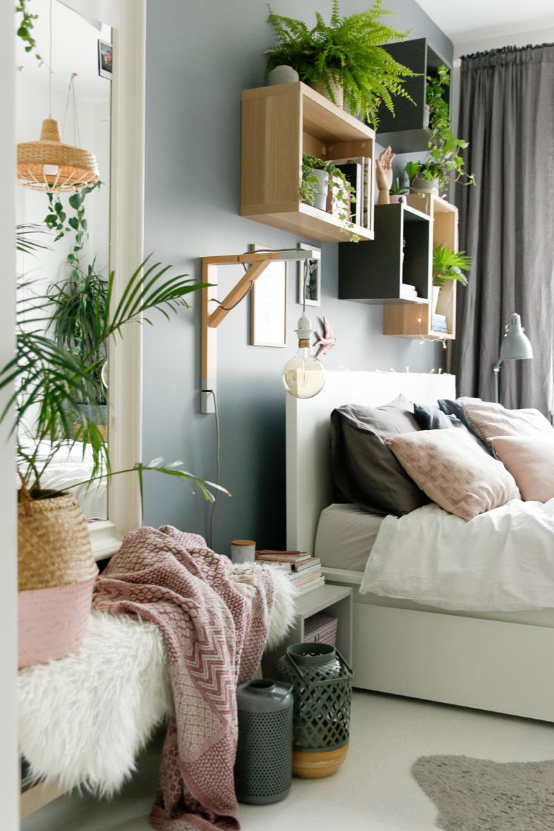 piante dietro letto