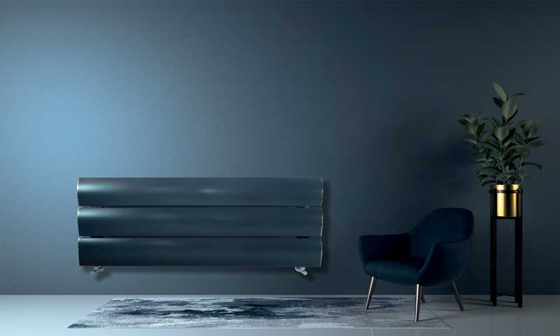 Minimal living room and blue wall texture background interior de