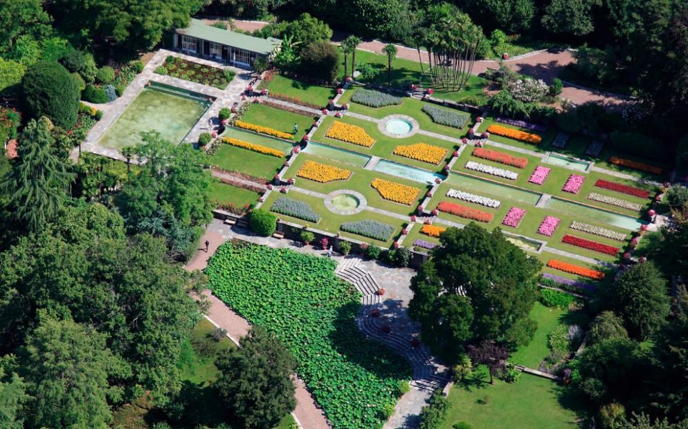 Aerial view of Botanical Gardens of Villa Taranto