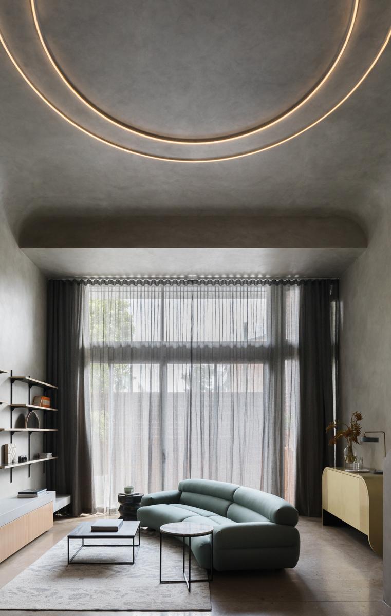 tende moderne salotto parete