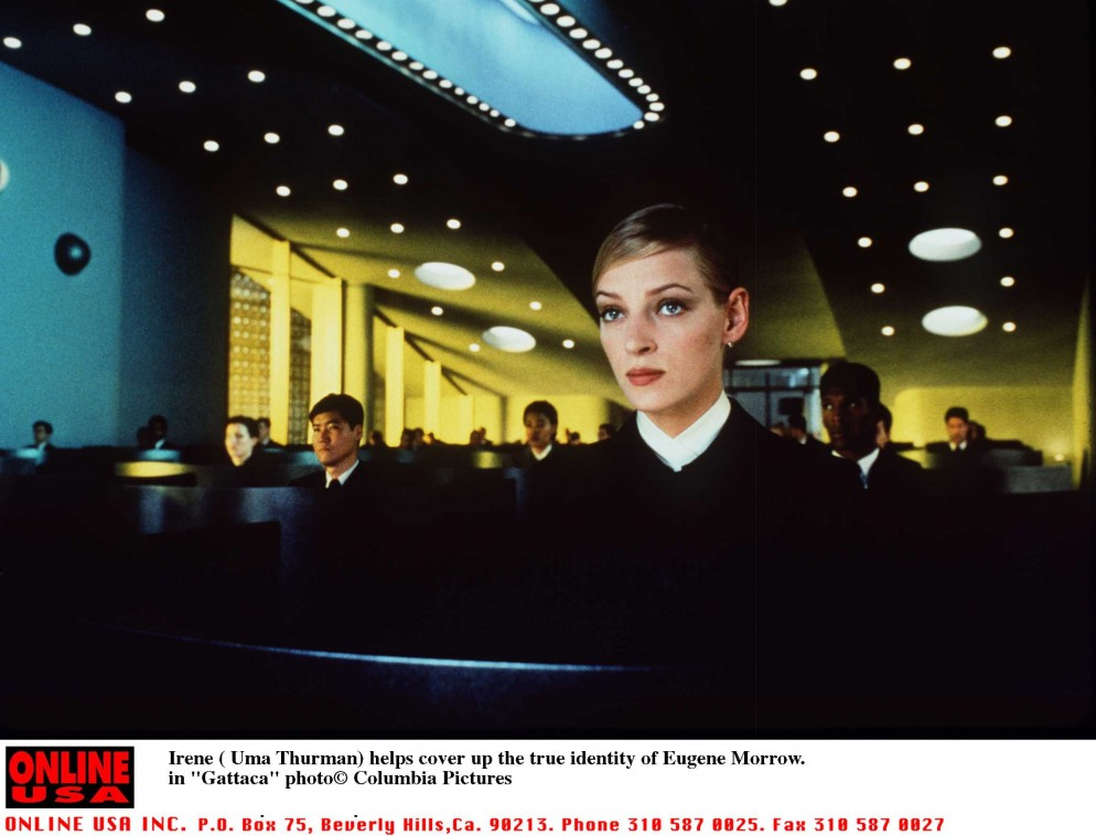 "Irene(Uma Thurman) helps cover up the true identity of Eugene Morrow""Gattaca"""