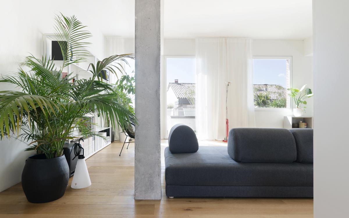 L'attico minimal bianco e grigio - Foto