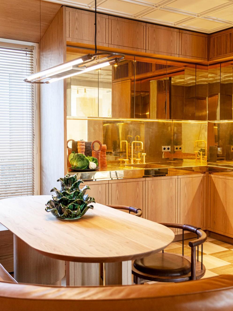 cucina ottone specchiato
