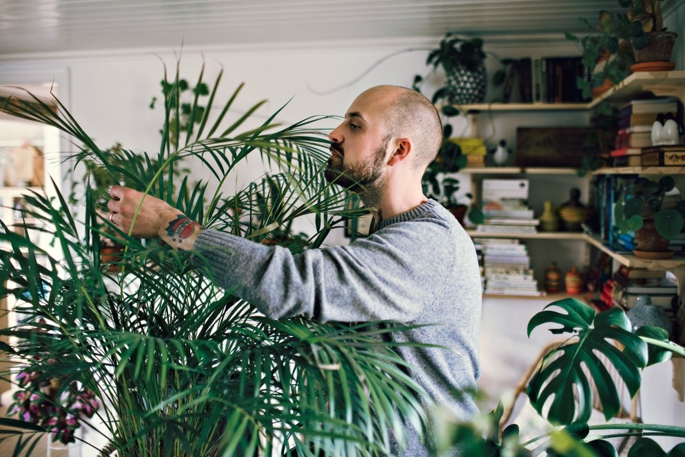 Side view of man examining plant in room at home.