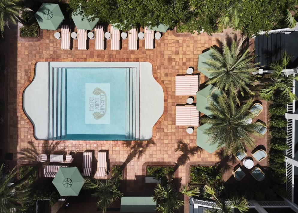 Hotel Saint Vincent - Courtyard x Pool Aerial - by Douglas Friedman