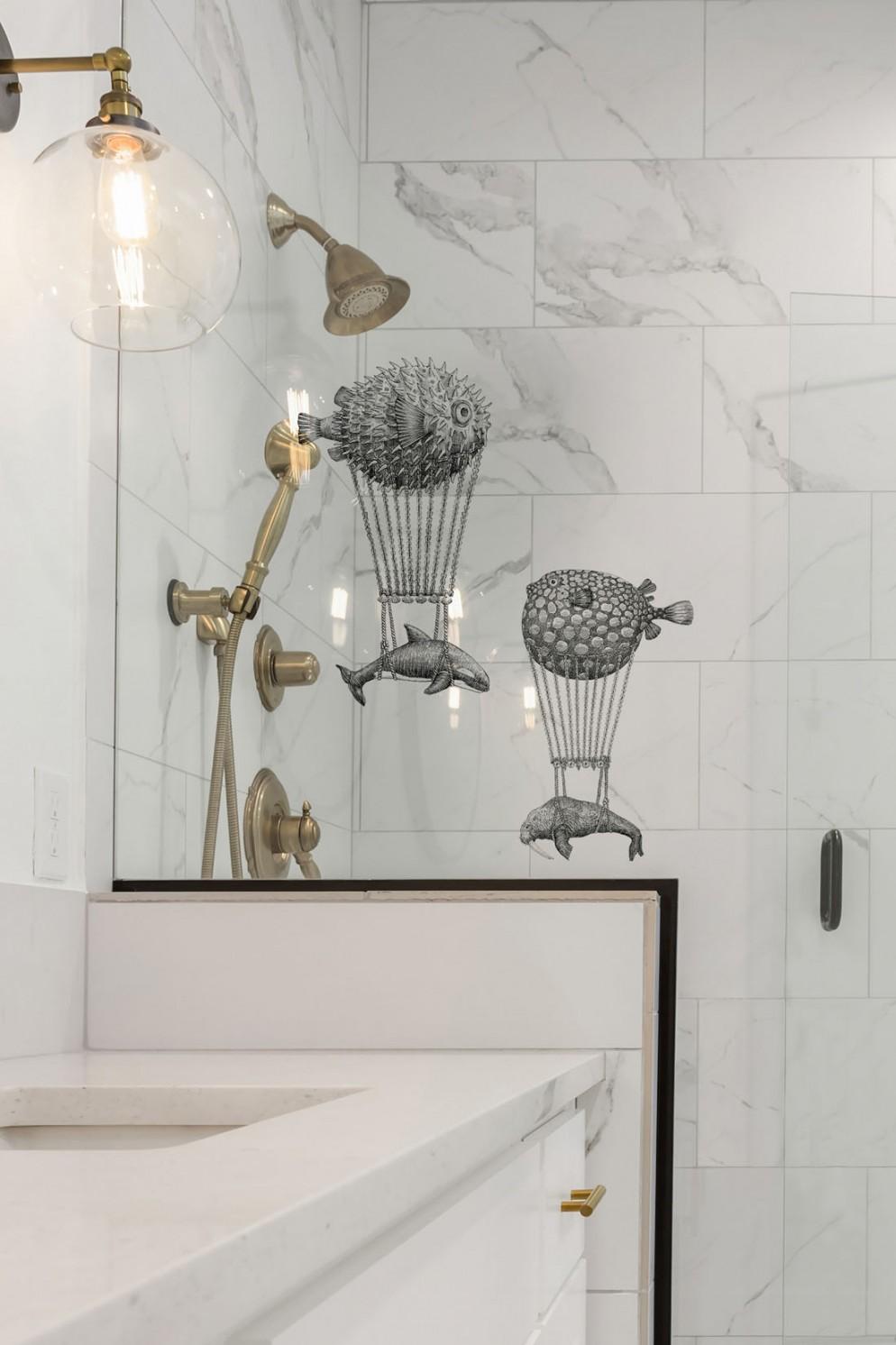 Bathroom Detail: Shower and Vanity in Ensuite Master Bathroom in