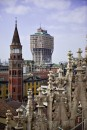 MILAN, ITALY - JULY 23:  The Velasca Tower is seen from the top of the Duomo July 23, 2010 in Milan, Italy. The Velasca Tower has been put on the market by its owner Fondiaria SAI Spa. With it's peculiar mushroom shape it is one of the most iconic buildings in Milan, built in 1958 it is 106 meters tall and has 27 floors.  (Photo by Marco Secchi/Getty Images)
