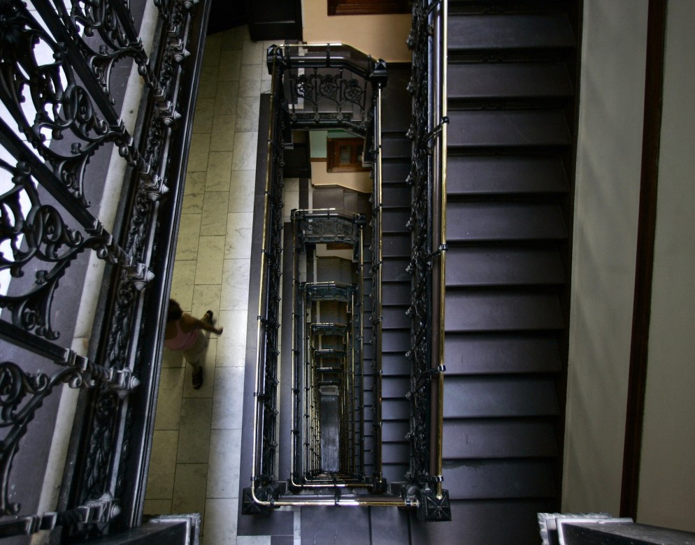 A view of the stairwell from the top flo