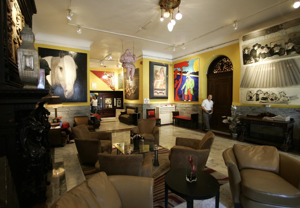 The lobby of the Hotel Chelsea in New Yo