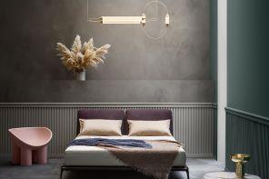 Una camera da letto color antracite