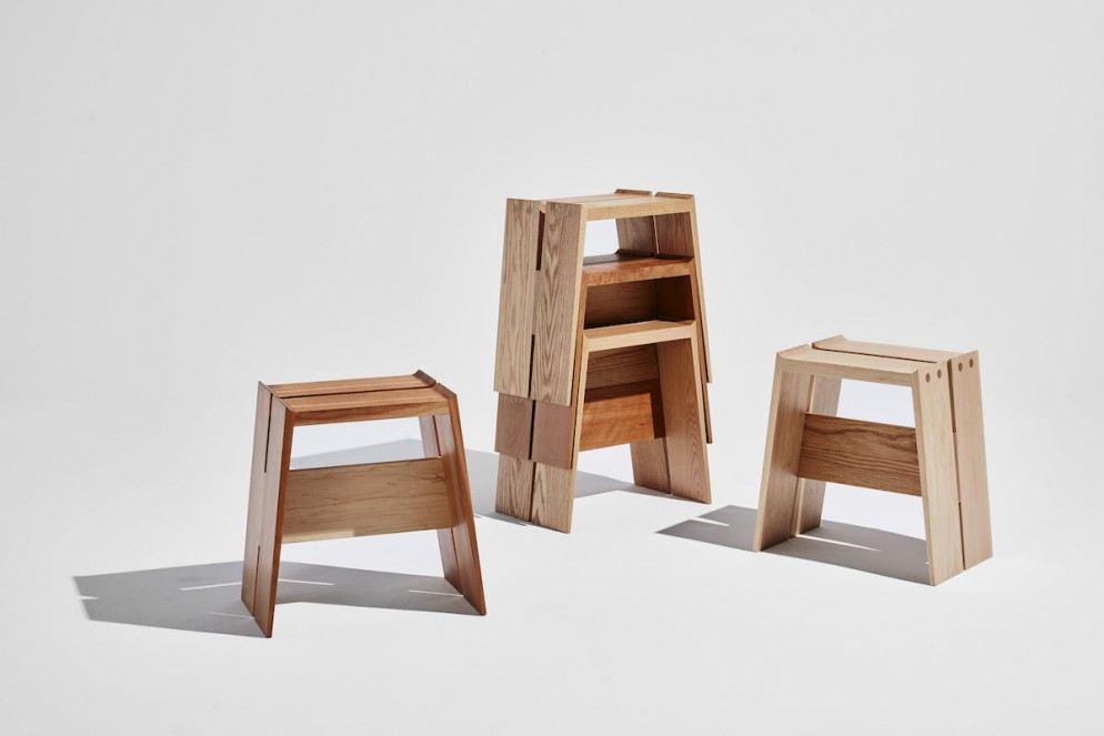 Roof Stool by Trang Nguyen_Cherry, red oak & hard maple_credit Winston Chuang_1