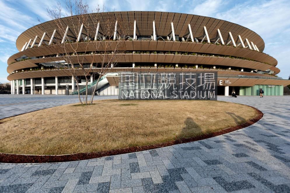 A view of Japanese architect Kengo Kuma's National Stadium